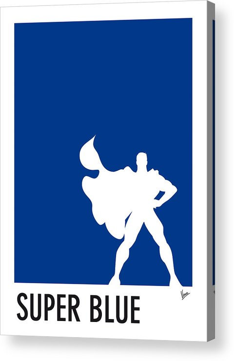 Superheroes Acrylic Print featuring the digital art My Superhero 03 Super Blue Minimal Poster by Chungkong Art