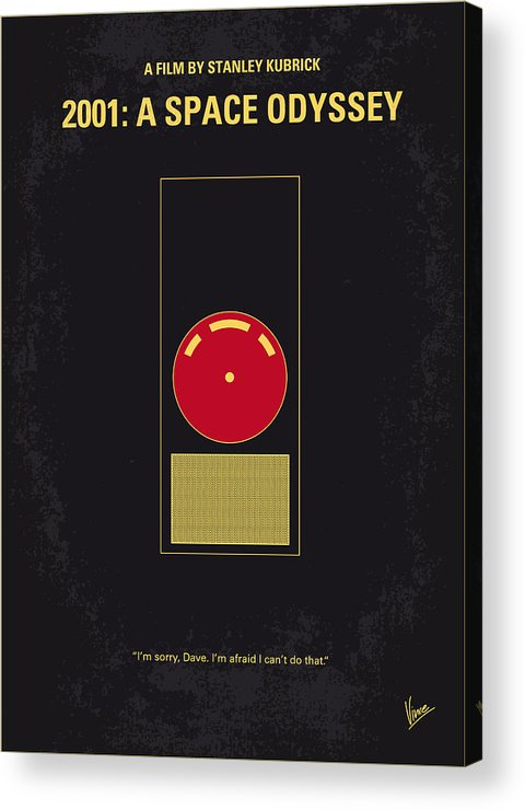 2001: A Space Odyssey Acrylic Print featuring the digital art No003 My 2001 A Space Odyssey 2000 Minimal Movie Poster by Chungkong Art