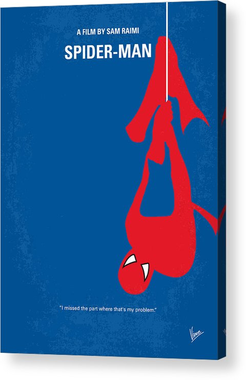 Spider-man Acrylic Print featuring the digital art No201 My Spiderman Minimal Movie Poster by Chungkong Art