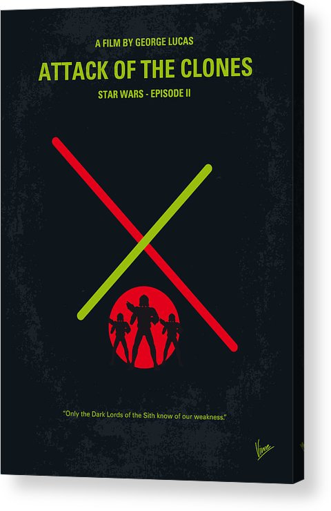 Star Acrylic Print featuring the digital art No224 My Star Wars Episode II Attack Of The Clones Minimal Movie Poster by Chungkong Art