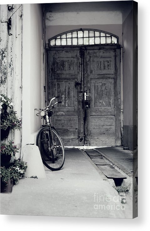 Bicycle Acrylic Print featuring the pyrography Old Bicycle by Jelena Jovanovic