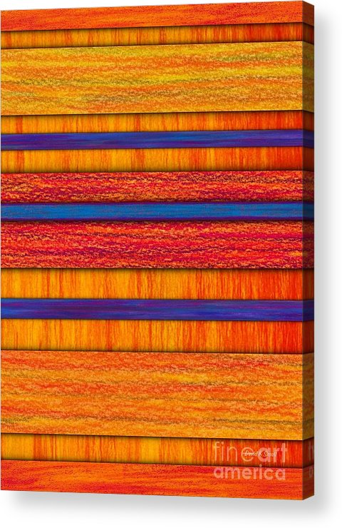 Colored Pencil Acrylic Print featuring the painting Orange And Blueberry Bars by David K Small