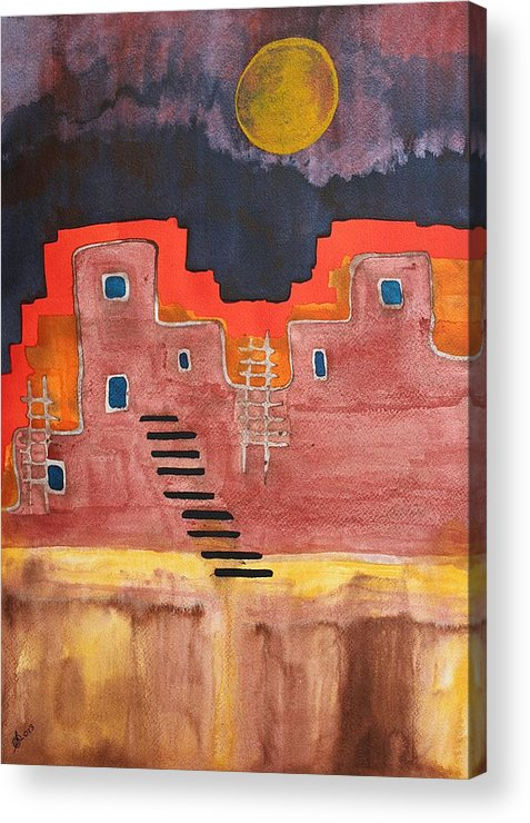 Pueblo Acrylic Print featuring the painting Pueblito Original Painting by Sol Luckman