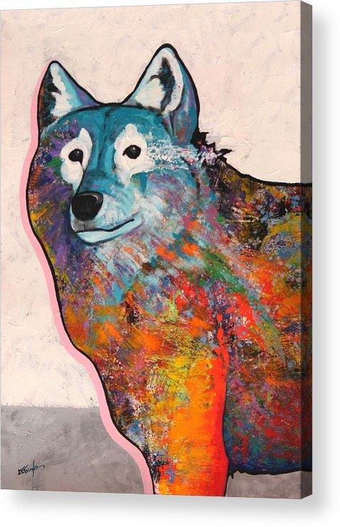 Animal Acrylic Print featuring the painting Rainbow Warrior - Alfa Wolf by Joe Triano