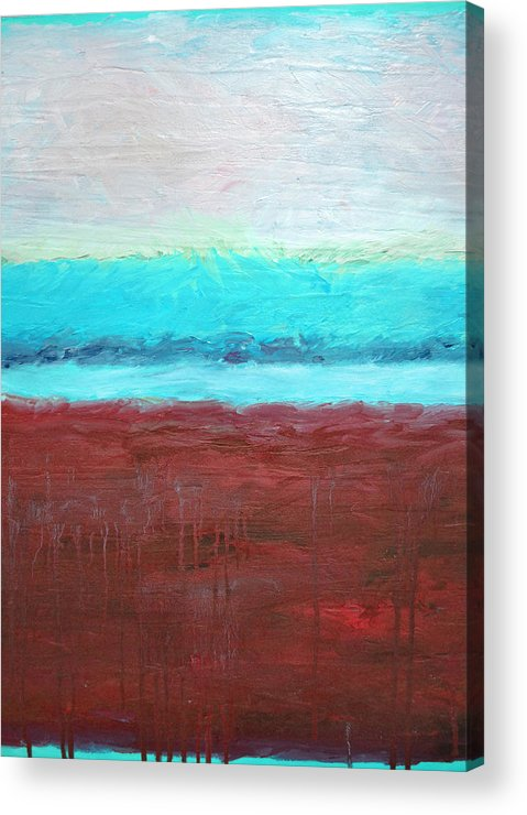 Abstract Acrylic Print featuring the painting Red And Aqua Get Married by Michelle Calkins