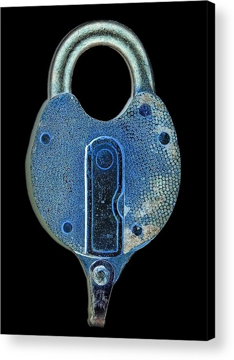 Lock Acrylic Print featuring the photograph Secure - Lock On Black by Denise Beverly
