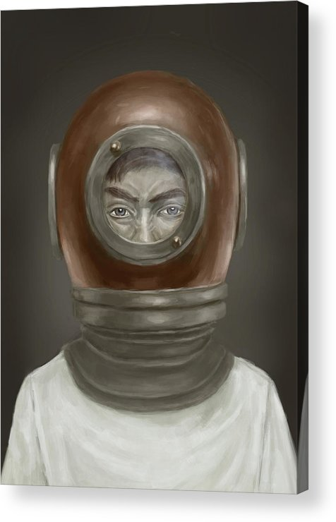 Digital Acrylic Print featuring the digital art Self Portrait by Balazs Solti