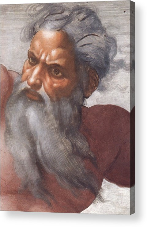 Renaissance; High; Old Testament; Genesis; God The Father; Skies; Sky; Father; Creator; Beard; Bearded; Close-up; Grey; Old; Angry; Male; Sistine Acrylic Print featuring the painting Sistine Chapel Ceiling Creation Of The Sun And Moon by Michelangelo Buonarroti