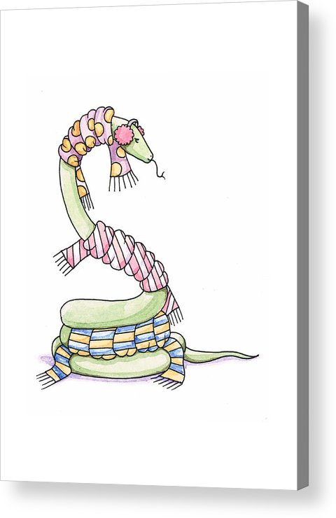 Snake Acrylic Print featuring the painting Snake Wearing A Scarf by Christy Beckwith