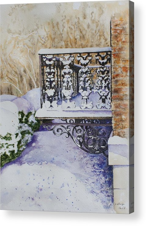 Snow Scene Acrylic Print featuring the painting Snowy Ironwork by Patsy Sharpe