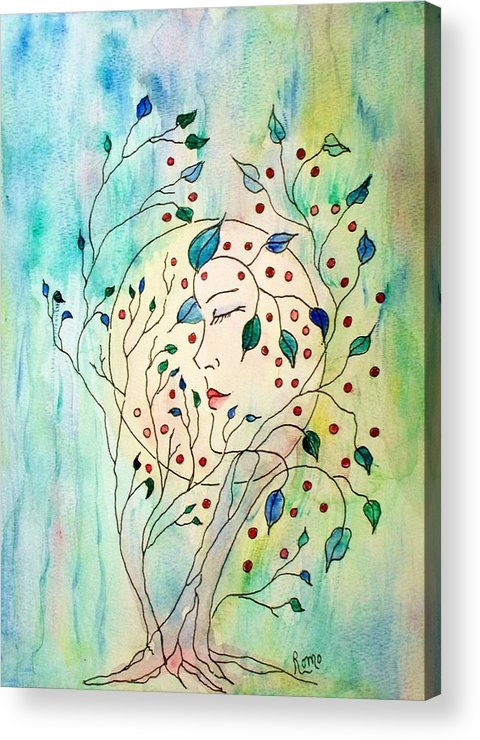 Watercolor Painting Acrylic Print featuring the painting Spirit Of The Forest by Robin Monroe