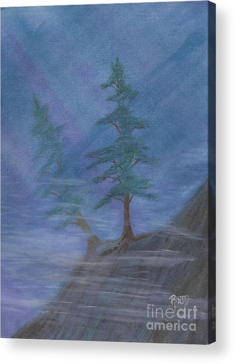 Mist Acrylic Print featuring the painting Standing Alone by Robert Meszaros