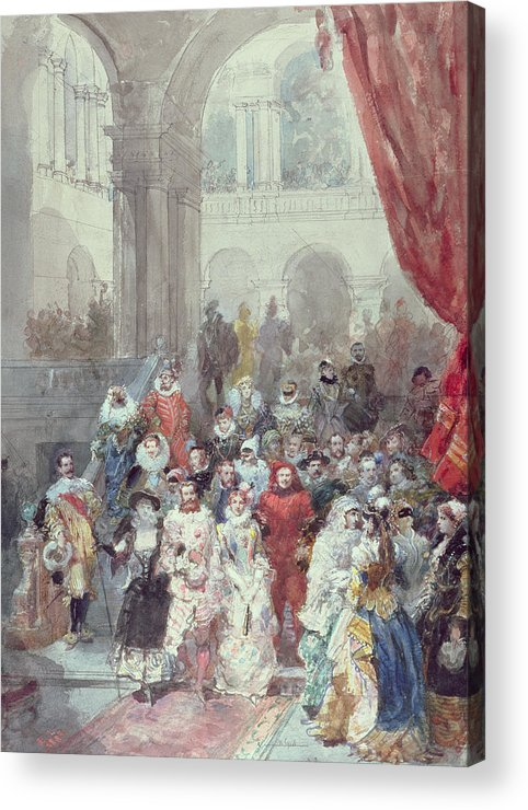 Study For A Costume Ball Given By The Princess Of Sagan Acrylic Print featuring the painting Study For A Costume Ball Given By The Princess Of Sagan by Eugene-Louis Lami