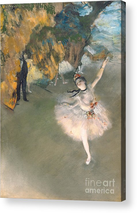 Prima Ballerina; Tutu; Dancing; Elegant; Ballet; Dancer; Dance; Impressionist Acrylic Print featuring the painting The Star Or Dancer On The Stage by Edgar Degas