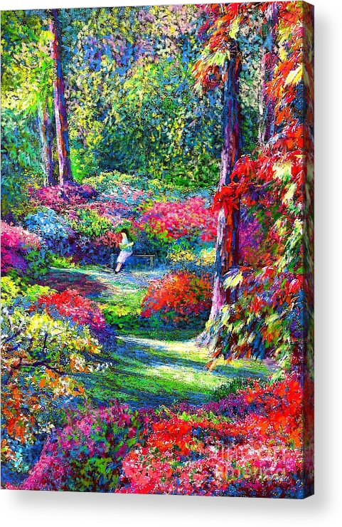Garden Acrylic Print featuring the painting To Read And Dream by Jane Small