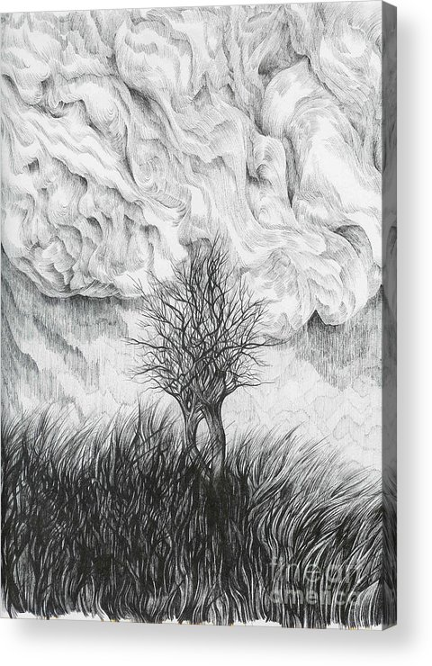 Pen And Ink Acrylic Print featuring the drawing Together by Anna Duyunova