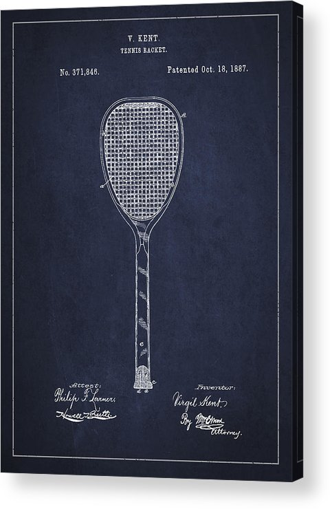 Tennis Acrylic Print featuring the digital art Vintage Tennnis Racket Patent Drawing From 1887-navy Blue by Aged Pixel