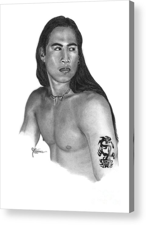 Pencil Drawing Print Acrylic Print featuring the drawing Warrior by Joe Olivares