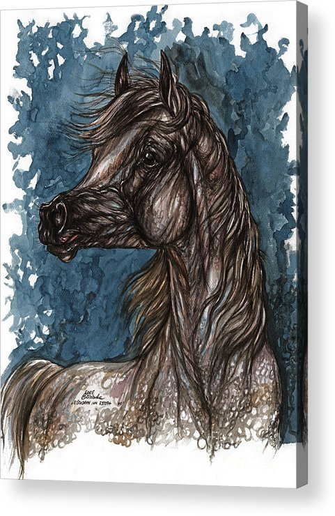 Blue Acrylic Print featuring the painting Wind In The Mane by Angel Ciesniarska