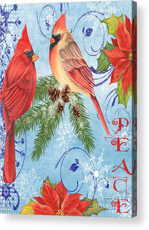 Watercolor Painting Acrylic Print featuring the mixed media Winter Blue Cardinals-peace Card by Jean Plout