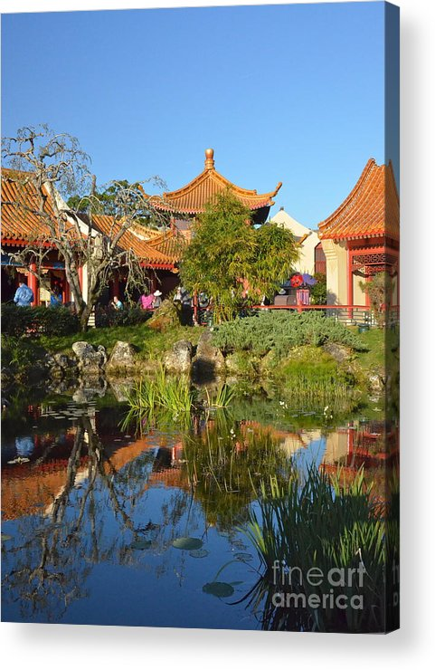 Epcot Acrylic Print featuring the photograph Reflecting Pond by Carol Bradley