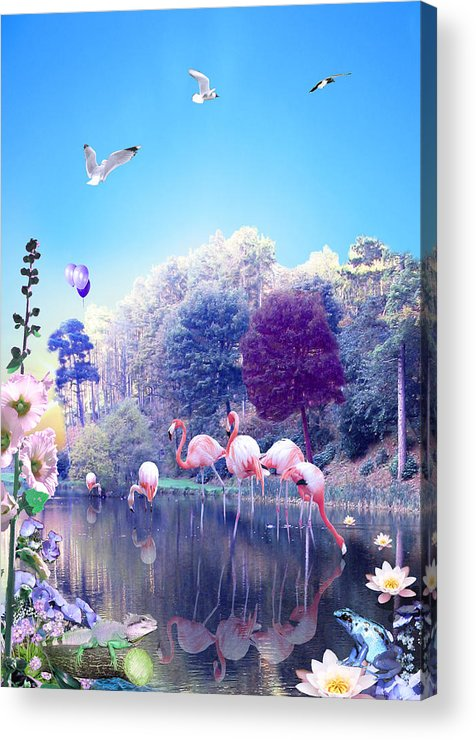 Landscape Acrylic Print featuring the digital art pink Flamingoes by Emily Campbell