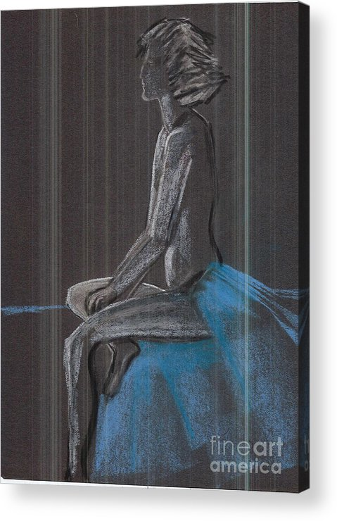 Seated Acrylic Print featuring the painting Studio Series by Duygu Kivanc