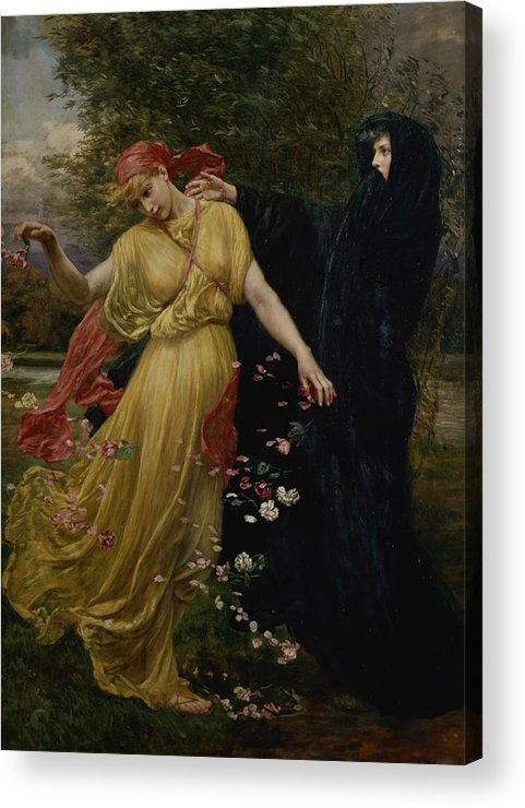 Grb; Head; Scarf ;petals; Cloak; Allegorical Acrylic Print featuring the painting At The First Touch Of Winter Summer Fades Away by Valentine Cameron Prinsep