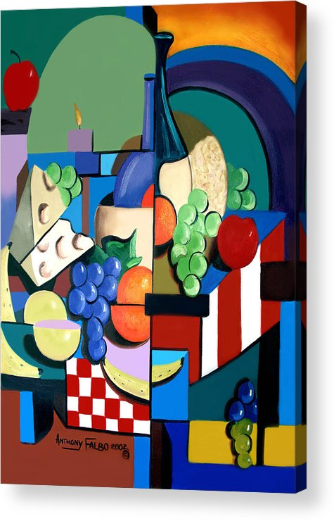 Bottle Of Wine Fruit Of The Vine Framed Prints Acrylic Print featuring the painting Bottle Of Wine Fruit Of The Vine by Anthony Falbo