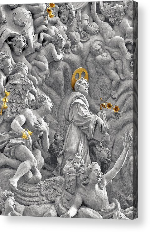 St Acrylic Print featuring the photograph Church Of St James The Greater Prague - Stucco Bas-relief by Christine Till
