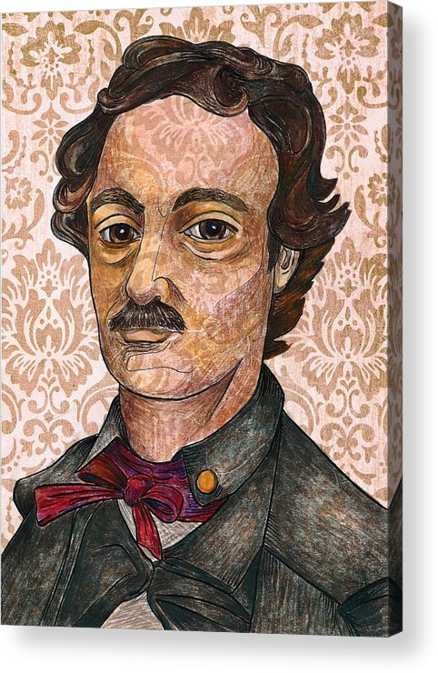 Edgar Allan Poe Acrylic Print featuring the drawing Edgar Allan Poe After The Thompson Daguerreotype by Nancy Mitchell