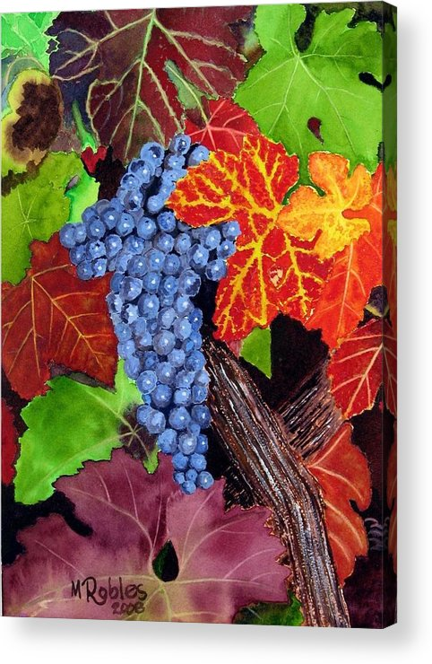 Cabernet Acrylic Print featuring the painting Fall Cabernet Sauvignon Grapes by Mike Robles
