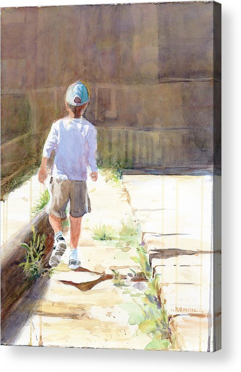 Boy Acrylic Print featuring the painting His Way by Kristin Nail