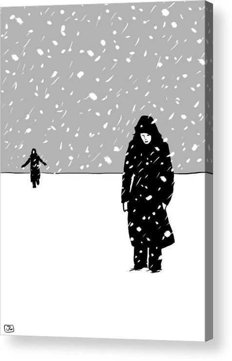 Snow Storm Acrylic Print featuring the drawing In The Snow by Giuseppe Cristiano