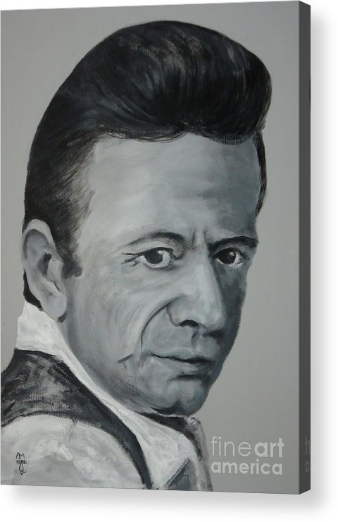 Johnny Cash Acrylic Print featuring the painting J.cash by Pete Maier