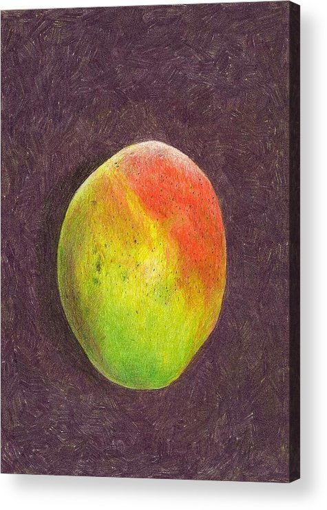 Mango Acrylic Print featuring the drawing Mango On Plum by Steve Asbell