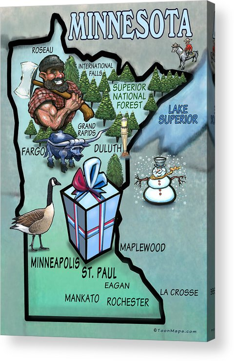 Minnesota Acrylic Print featuring the painting Minnesota Cartoon Map by Kevin Middleton