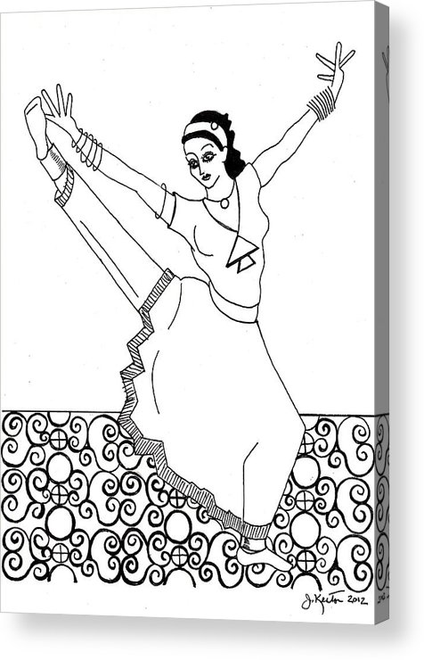 Moroccan Dancer Acrylic Print featuring the drawing Moroccan Dancer by John Keaton
