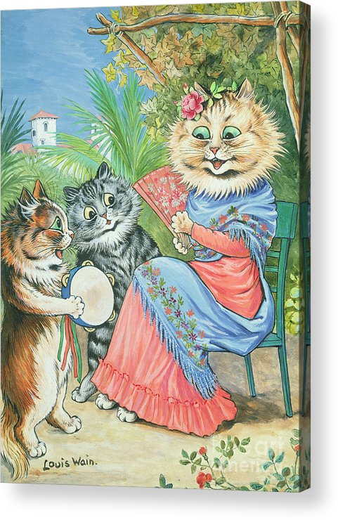 Anthropomorphic Acrylic Print featuring the painting Mother Cat With Fan And Two Kittens by Louis Wain