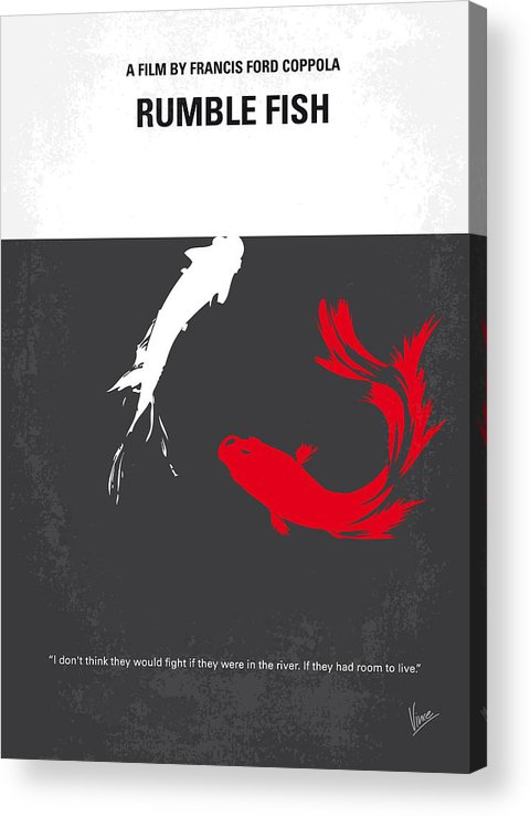 Rumble Acrylic Print featuring the digital art No073 My Rumble Fish Minimal Movie Poster by Chungkong Art
