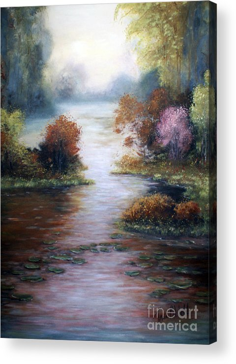 Water Landscape Acrylic Print featuring the painting Peace In The Morning by Terri B Webb