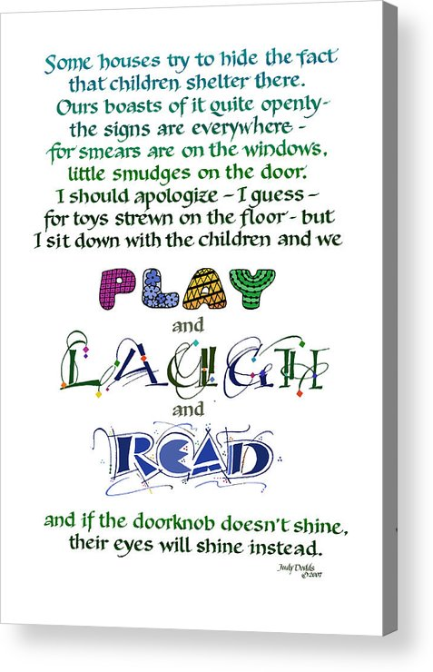 Mother's Day Acrylic Print featuring the painting Play Laugh Read by Judy Dodds