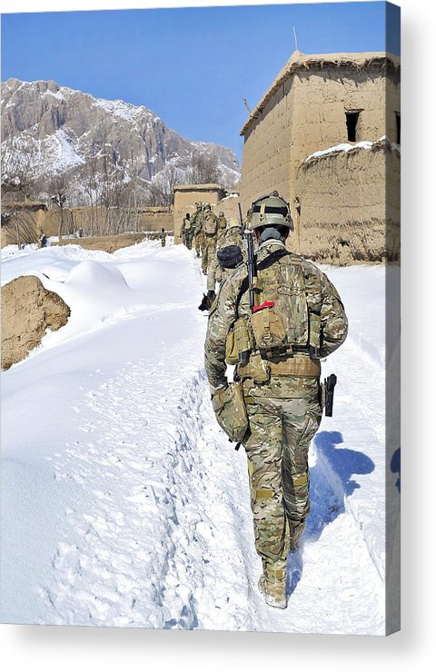Patrol Acrylic Print featuring the photograph Soldiers Conduct A Patrol In Shah Joy by Stocktrek Images