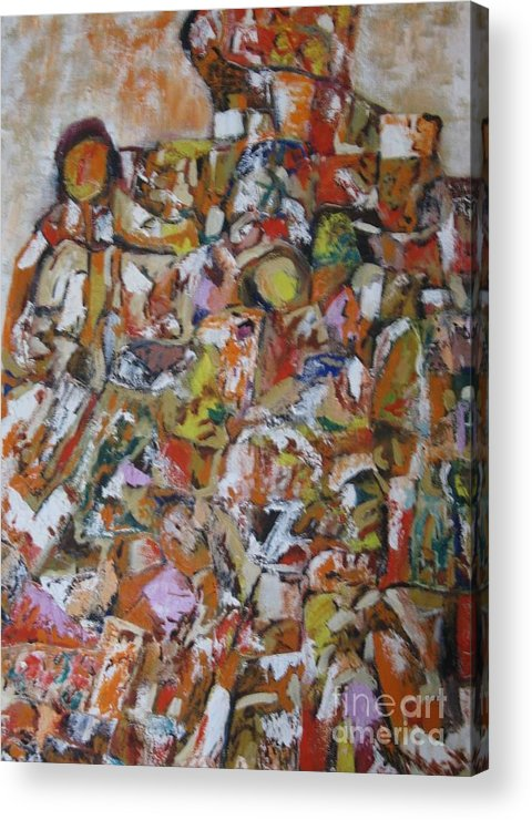 Abstract Acrylic Print featuring the painting Teeming Population by Nedunseralathan R