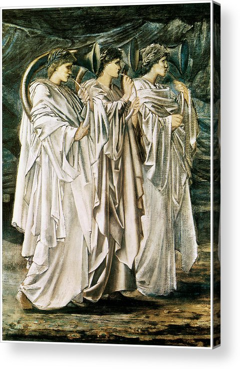 Edward Burne-jones Acrylic Print featuring the painting The Challenge In The Desert by Edward Burne-Jones