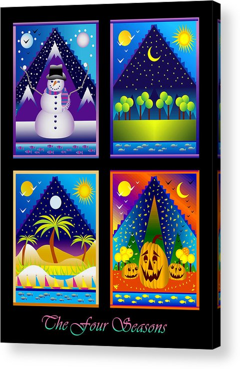 Card Acrylic Print featuring the digital art The Four Seasons by Nancy Griswold