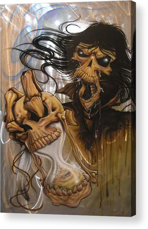Skull Acrylic Print featuring the painting Times Up by Mike Royal