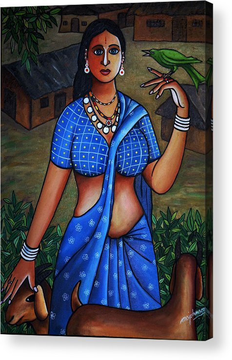 Girl Acrylic Print featuring the painting Village Girl by Johnson Moya