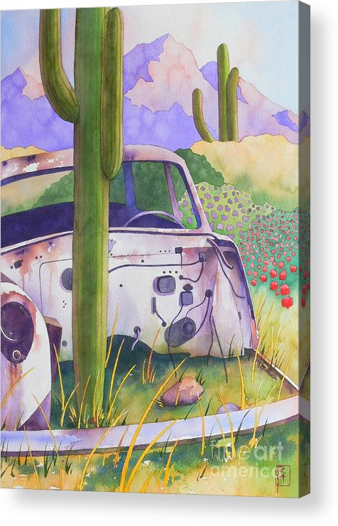 Automotive Acrylic Print featuring the painting What's Left by Robert Hooper