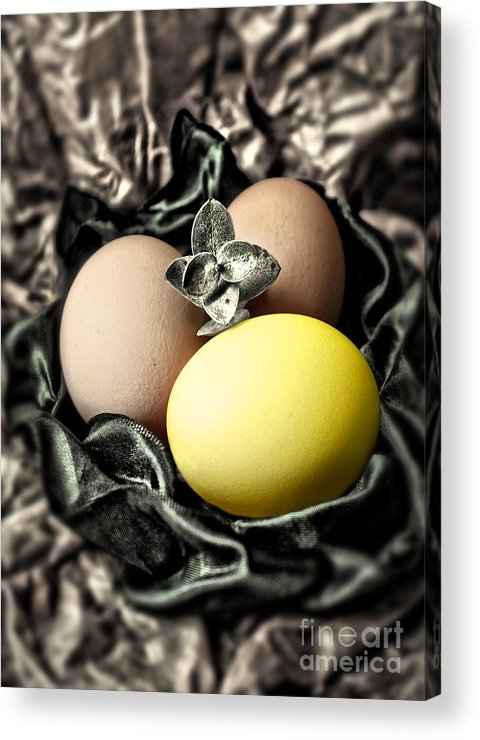 Elegant Easter Greeting Cards Acrylic Print featuring the photograph Yellow Classy Easter Egg by Danuta Bennett